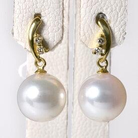 【受注発注品】あこや真珠 ダイヤ付き スタッドぶら パールピアス ホワイト系 8.0-8.5mm BBB K18 ゴールド [n6](真珠 ピアス おしゃれ)