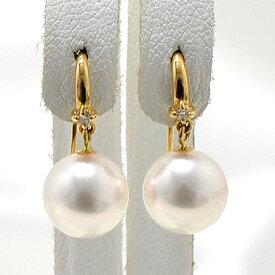 あこや真珠 ダイヤ付き フックパールピアス ホワイト系 8.0-8.5mm BBB K18 ゴールド [n3](本真珠 ピアス おしゃれ)