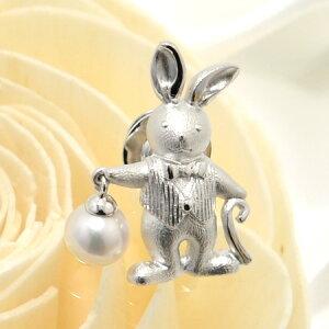 あこや真珠 時計ウサギ パールブローチ ホワイト系 7.0-7.5mm BBB シルバー(silver) 【受注発注品】[n5](プレゼント ギフトに) (母の日)