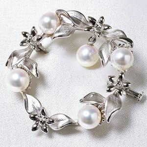 あこや真珠 パールブローチ ネイチャーモチーフ(リーフ サークル) ホワイト系 6.5-7.0mm BBB〜C シルバー(silver) [n3](フォーマル スーツ ワンピース)(プレゼント 御祝い)