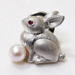 あこや真珠 ウサギ パールブローチ 瞳[ルビー] ホワイト系 5.5-6.0mm シルバー(silver)[n4] (卯年)(入学式 卒業式 フォーマル ジャケット) (母の日)