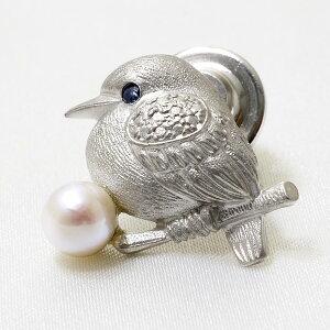あこや真珠 鳥 パールブローチ 瞳[サファイア] ホワイト系 5.5-6.0mm シルバー(silver)[n4](酉年)(入学式 卒業式 フォーマル ジャケット)
