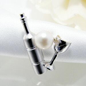 あこや真珠 パールブローチ ≪ワインボトル&グラス≫ ホワイト系 5.5-6.0mm シルバー(silver) ラペルピン【受注発注品】[n5](冠婚葬祭 フォーマル スーツ)(プレゼント ギフトに ユニセックス