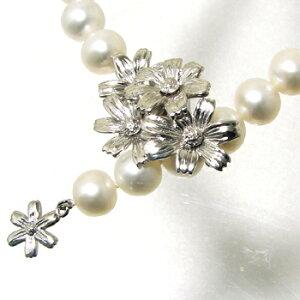 【受注発注品】コスモスモチーフ マグネット式クラスプ 《真珠4〜10mm対応》 シルバー(silver) [n5](真珠ネックレス用 留め具 パーツ)