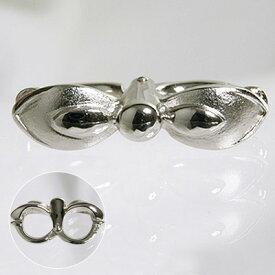 【受注発注品】ロングネックレス用 リボンデザイン ショートナー(クラスプ) 《真珠7〜9mm対応》 シルバー(silver) [n6](真珠ネックレス アレンジ用 パーツ)
