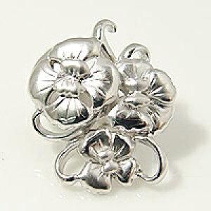 【受注発注品】ロングネックレス用 大きな花モチーフ クリップ式クラスプ 《真珠7〜12mm対応》 シルバー(silver) [n6](真珠ネックレス用 留め具 パーツ)