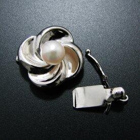 白山吹のように気品溢れるクラスプ K14WG(ホワイトゴールド) /天珠 あこや真珠 5.5mmUP 板バネ式/ストッパー付き [n2](真珠 パールネックレス加工用)