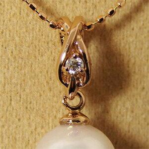 1粒ダイヤ付き クロスデザイン ペンダントトップ金具 K18PG ピンクゴールド 0.02ct [n5](真珠 パール セミオーダー 加工用 パーツ)