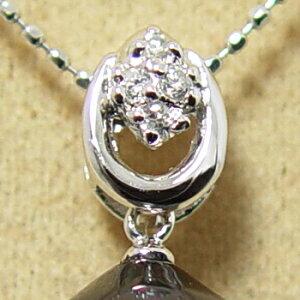 カーブダイヤデザイン ペンダントトップ金具 K18WG ホワイトゴールド 0.04ct [n5](真珠 パール セミオーダー 加工用 パーツ)