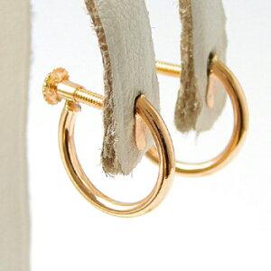 フープイヤリング K18PG ピンクゴールド (ねじ式/スクリュータイプ) チャーム取り付け可 パイプの太さ/約1.5mm (リングイヤリング)[n5](真珠用 パール セミオーダー 加工 パーツ) 18k 18金