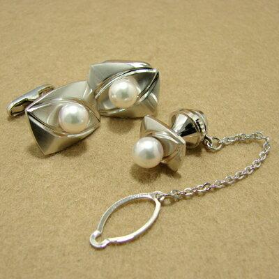 「あこや本真珠 パールネクタイピン(タイタック・ラペルピン)・カフス(カフリンクス)セット ホワイト/グリーン系 7.0-7.5mm BBB silver」[メンズジュエリー][父の日][メンズ][n5]