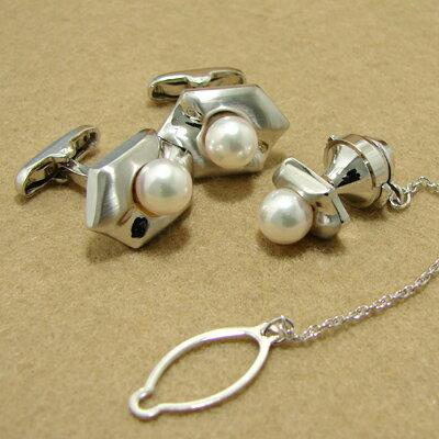 「あこや本真珠 パールネクタイピン(タイタック・ラペルピン)・カフス(カフリンクス)セット ホワイト/グリーン系 7.0-7.5mm BBB silver」[メンズジュエリー][bride][父の日][メンズ][n5]