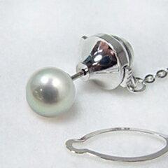 あこや黒真珠 ネクタイピン(タイタック/ラペルピン)(チェーン付) グレー系 8.0-8.5mm BBB 針の材質/Pt900 プラチナ [n3](父の日 プレゼントに)(メンズ フォーマル スーツ)