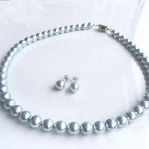 ≪今だけ2点セット!耳飾り付き≫あこや黒真珠 パールネックレス グレー系 7.5-8.0mm BBB〜C セミラウンド ビーンズクラスプ(silver) [n2][HS](アコヤ本真珠 ネックレス)(グレーパール 冠婚葬祭