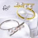 雑誌掲載★あこや真珠 スタイリッシュ ダイヤ パールリング(指輪)【受注発注品】 ホワイト系 4.0-4.5mm BBB K18WG/K…