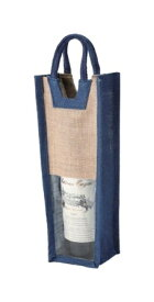 【送料お得】_10個セット 麻 ワインバッグ窓付1本用 ブルー 1501M【RCP】【ワイングラス/カトラリー】【バー/カクテル】