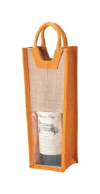 【送料お得】_10個セット 麻 ワインバッグ窓付1本用 オレンジ 【RCP】【ワイングラス/カトラリー】【バー/カクテル】