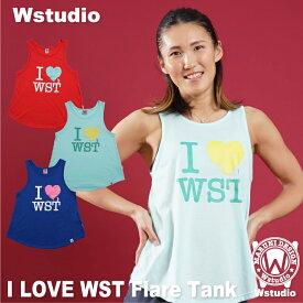 【ネコポス対応】Wstudio ダブルスタジオ【全3色】I LOVE WST Flare Tank フィットネスウェア