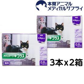 バイエル薬品 猫用 アドバンテージプラス (体重4kg以上〜)0.8ml 3ピペット 2箱セット【動物用医薬品】