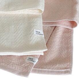 フェイスタオル ヘアケアタオル HAIR_CUTIFUL 1枚 全2色 日本製 泉州製 綿100% コットン 送料無料 アイボリー サーモンピンク 国産 ハンドタオル