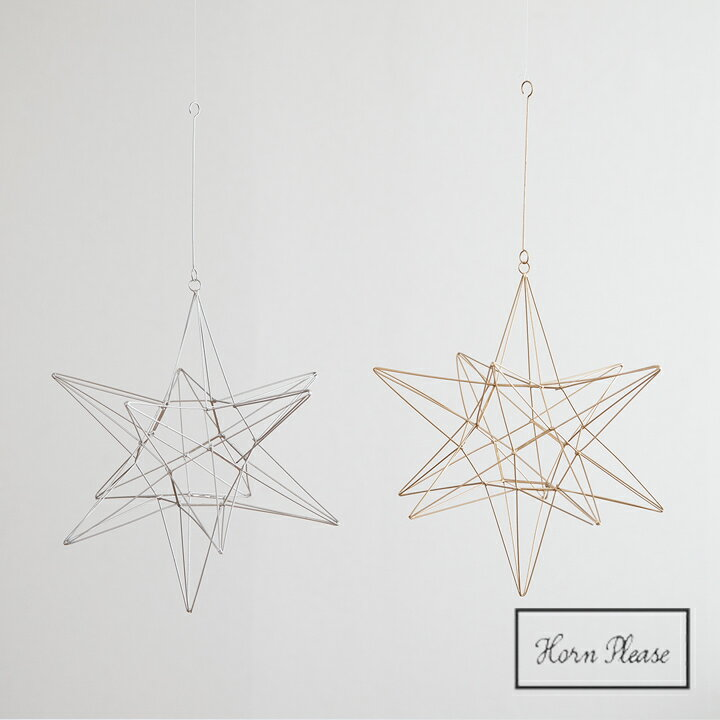 ワイヤーオーナメントスターリィ Lサイズ クリスマス飾り 志成販売 Horn Please