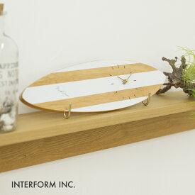 掛け時計 置き時計 兼用 サーフボード おしゃれ 西海岸風 木 Surfboard Clock サーフボードクロック INTERFORM