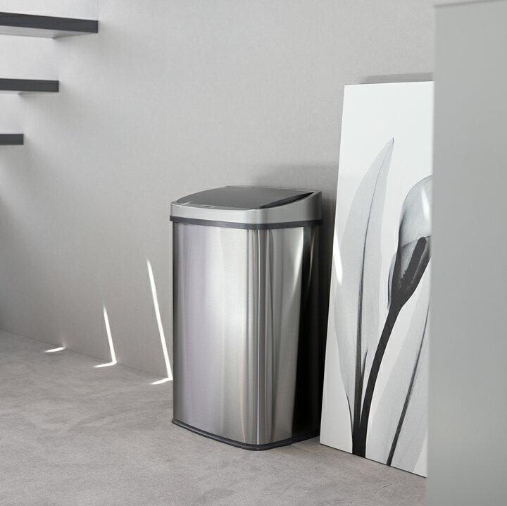 WY ゴミ箱 おしゃれ センサー自動開閉 大容量50リットル 2分別使用可能 45リットルゴミ袋対応 ふた付き ステンレス ダストボックス