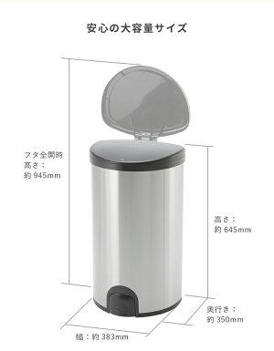 WYゴミ箱50リットル45リットルゴミ袋対応自動開閉フットスイッチステンレスダストボックスおしゃれふた付き