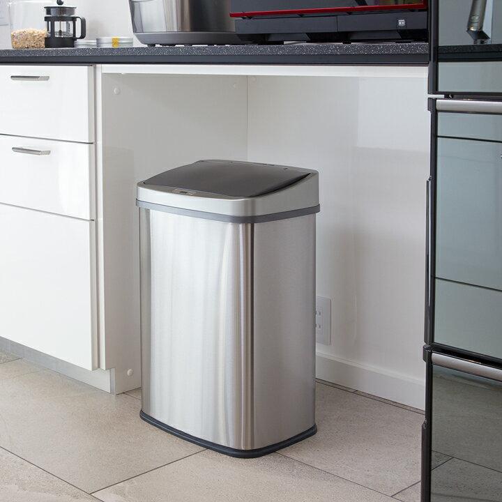 WY ゴミ箱 おしゃれ センサー自動開閉 大容量45リットル ふた付き 2分別使用可能 45リットルゴミ袋対応 ステンレス ダストボックス
