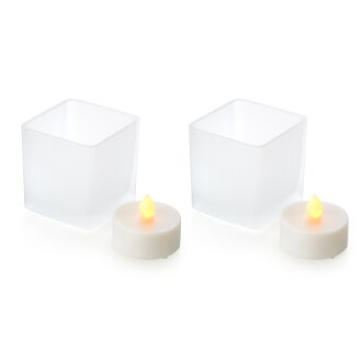 LED 촛불 무광택 유리 들어가고 정사각형 2 개 숨을 살포에서 진화 된 불을 사용 하지 안전한 가짜 촛불 LED 선물 05P01Oct16