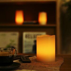 LEDキャンドルライト3点セット(リモコン付/消灯タイマー/照明モード切替/明るさ2段階調整)本物の蝋を使用したインテリアアイテム癒しの灯かり電池式