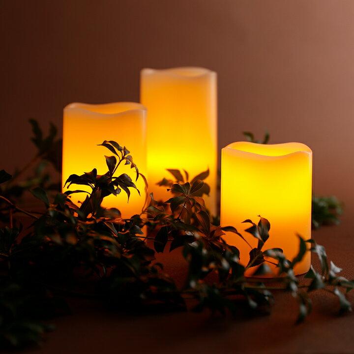 WY 高級LEDキャンドルライト 3点セット 電池式 自動点灯&消灯タイマー リモコン付き 寝室 間接照明 本物の蝋を使用