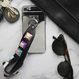 iPhone5 5s se 6 6s 6Plus 6sPlus 7 7Plus 8 8Plus ストラップ付きミラーケース アイフォン iPhone ケース トレンド おしゃれ カラフル スタッズ ブロック レザー ミラー かわいい スマホ ポイント消化