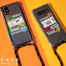 Galaxy a51 s10 s20 s21 ケース スマホケース 韓国 casepholic 肩掛け 斜めがけ ショルダー クロスボディ 耐衝撃 カバー かわいい おしゃれ チケット 名入れ 名前 チケットデザイン オリジナル チケットミックス柄 クロスボディケース