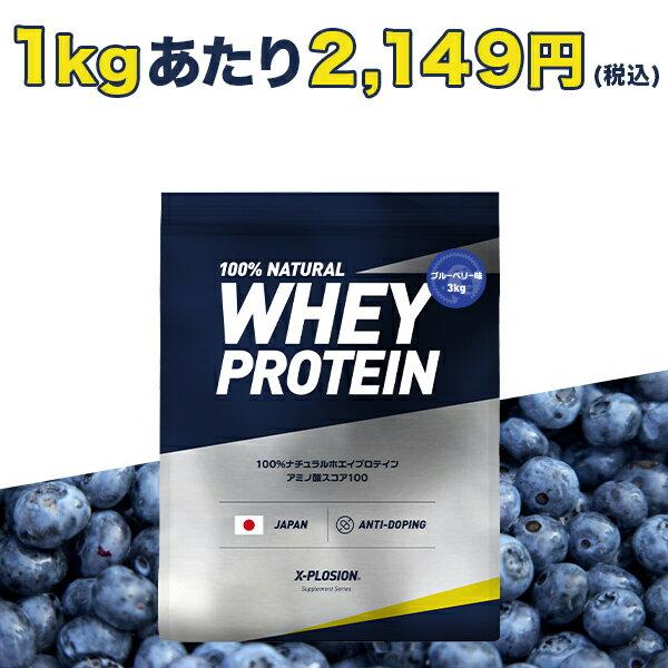 エクスプロージョン プロテイン 100%ホエイプロテイン ブルーベリー味 3kg 日本製 男性 女性 X-PLOSION