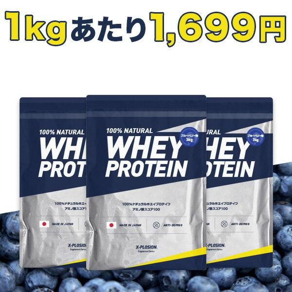 エクスプロージョン プロテイン 100%ホエイプロテイン ブルーベリー味 3個セット 3kg×3個 合計9kg 日本製 男性 女性 X-PLOSION