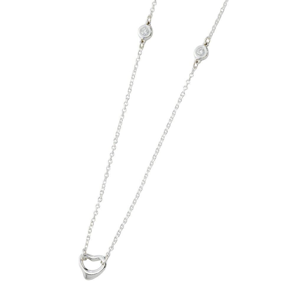 ティファニー ネックレス TIFFANY 35671722 ダイヤモンド バイザヤード オープン ハート ネックレス 0.06CT シルバー エルサ・ペレッティ