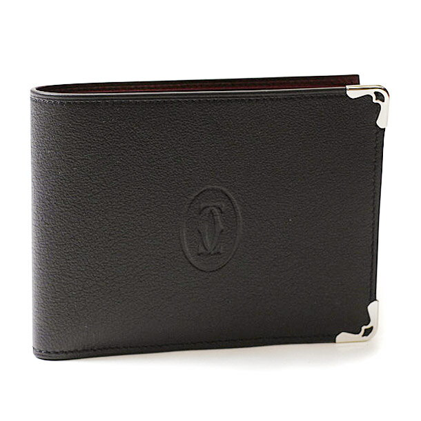 【rms5】 カルティエ 財布 折財布 CARTIER L3001369 ブラック/ボルドー マスト