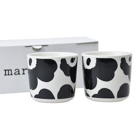 マリメッコ マグカップ ラテマグ 2個セット 【UNIKKO】 70637 190 WHITE/BLACK MARIMEKKO 【hkc】