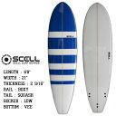サーフボード ファンボード 6'8 ボーダー ブルー フィン付属 サーフィン 初心者 中級者 SCELL