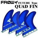 サーフィン フィン サーフボード FUTURE フューチャー対応 ブルー ハニカム クアッドフィン FROW