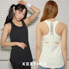 xexymix ゼクシィミックス ヨガウェア XA5159T ゼクシーミックス ノースリーブ ゆったり ロゴ入り 体型カバー ヨガウェア ヨガトップス マッスルタンク フィットネス ピラティス ランニング スポーツウェア トップス tシャツ