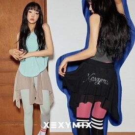 xexymix ゼクシィミックス ヨガウェア XA5188T ゼクシーミックス ヒップカバー スタイリッシュ フレアスカート ヒップライン 女性らしい フェミニン レギンスコーデ