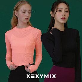 Xexymix XT4143N ゼクシィミックス ゼクシーミックス 女性らしい ヨガウェア トップスロング丈 ヨガトップス なめらか ロゴ入り 体型カバー フィットネスウェア ピラティス ランニングウェア スポーツウェア スポーツウェア レディース tシャツ タンクトップ
