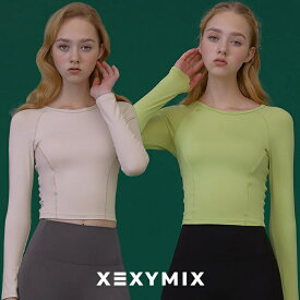【クリアランスセール25%OFF】Xexymix XT4145N ゼクシィミックス ゼクシーミックス 女性らしい ヨガウェア トップスロング丈 ヨガトップス なめらか ロゴ入り 体型カバー フィットネスウェア ピラティス ランニングウェア スポーツウェア レディース tシャツ