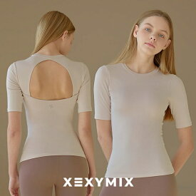 xexymix XT4152N ゼクシィミックス ゼクシーミックス ヨガウェア シンメトリー ヨガトップス ヨガウェア ピラティス なめらか 吸汗速乾 伸縮性 キックバック 細身 スポーツウェア かわいい おしゃれ 体型カバー半袖 ブラトップ パッド付き トレンド