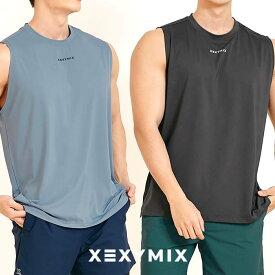 xexymix ゼクシィミックス ゼクシーミックス Mens メンズ XT2118F ベーシックワイド ノースリーブ スリーブレス トップス ストレッチ フィットネス ジム トレーニング ワークアウト ランニング スポーツウェア