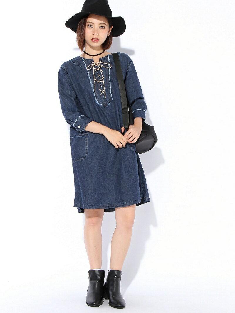 【SALE/45%OFF】X-girl LACE UP SHIRT DRESS エックスガール ワンピース【RBA_S】【RBA_E】【送料無料】