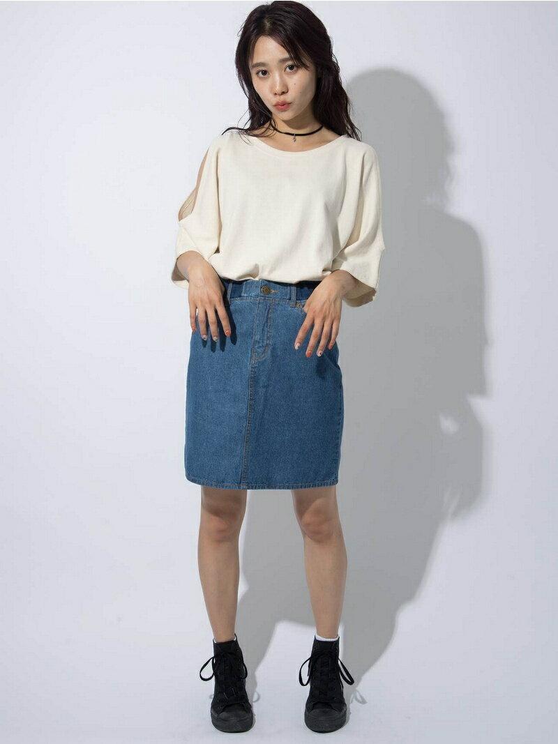 【SALE/45%OFF】X-girl RIBBED DENIM SKIRT エックスガール スカート【RBA_S】【RBA_E】【送料無料】