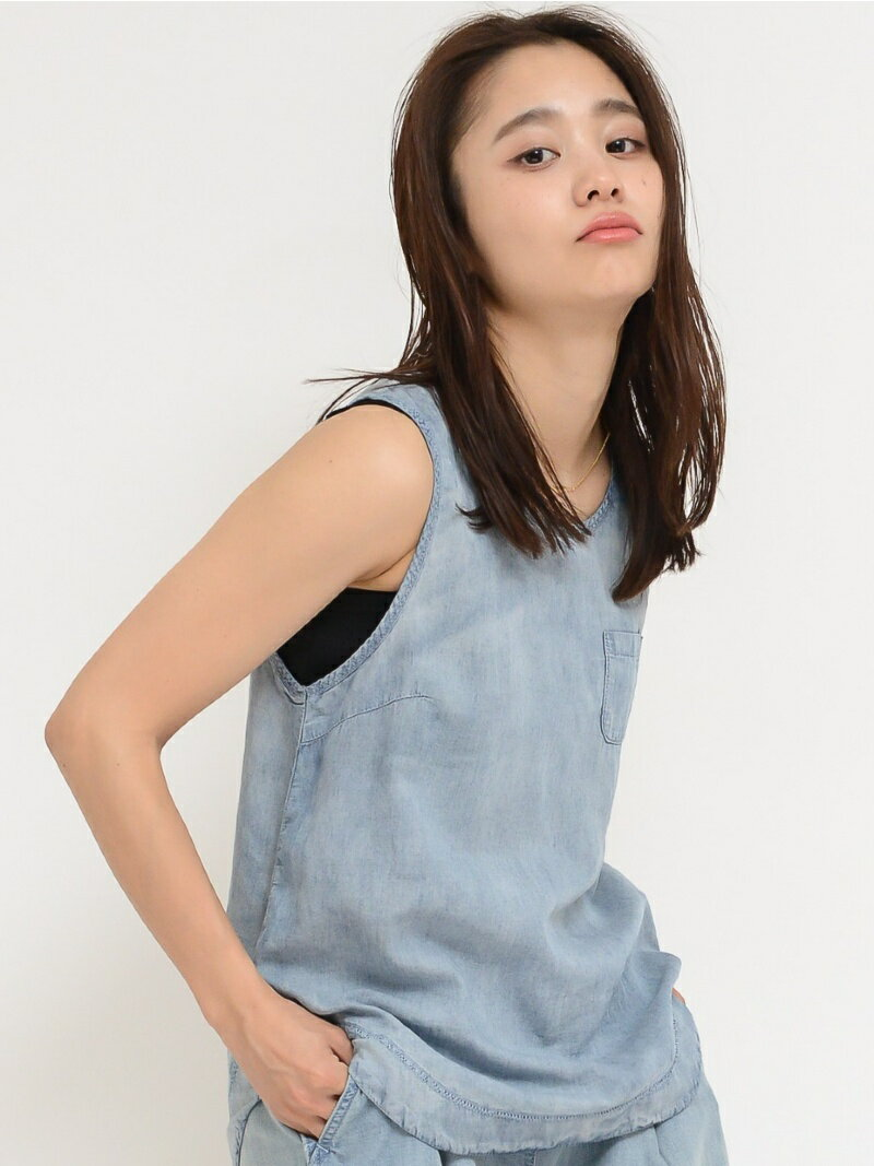 【SALE/45%OFF】X-girl LIGHTWEIGHT DENIM TANK TOP エックスガール カットソー【RBA_S】【RBA_E】【送料無料】